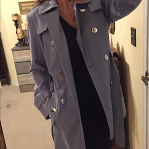 Calvin Klein sky blue cotton trench coat NWOT